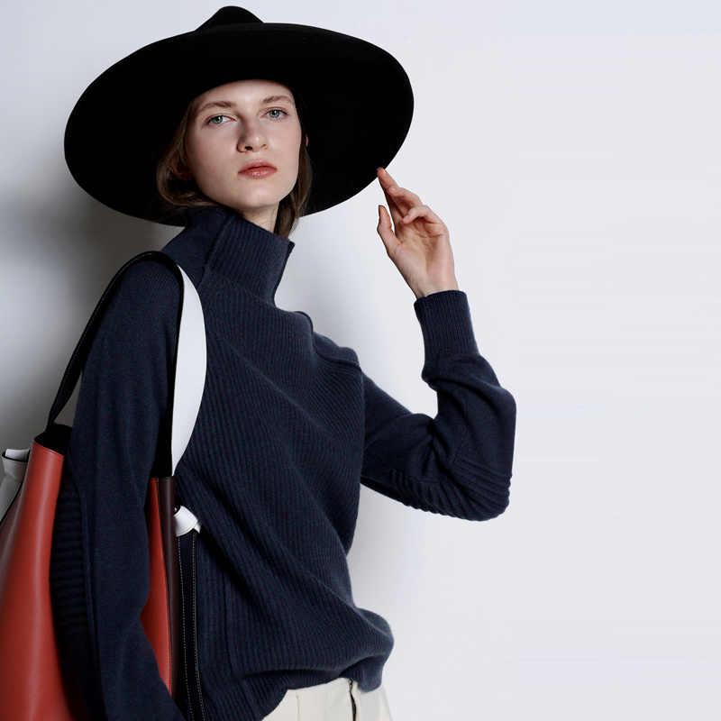 BELIARST Baru Musim Gugur dan Musim Dingin Kasmir Sweater Wanita Tinggi Kerah Menebal Pullover Sweater Longgar Ukuran Besar Rajutan Wol Kemeja