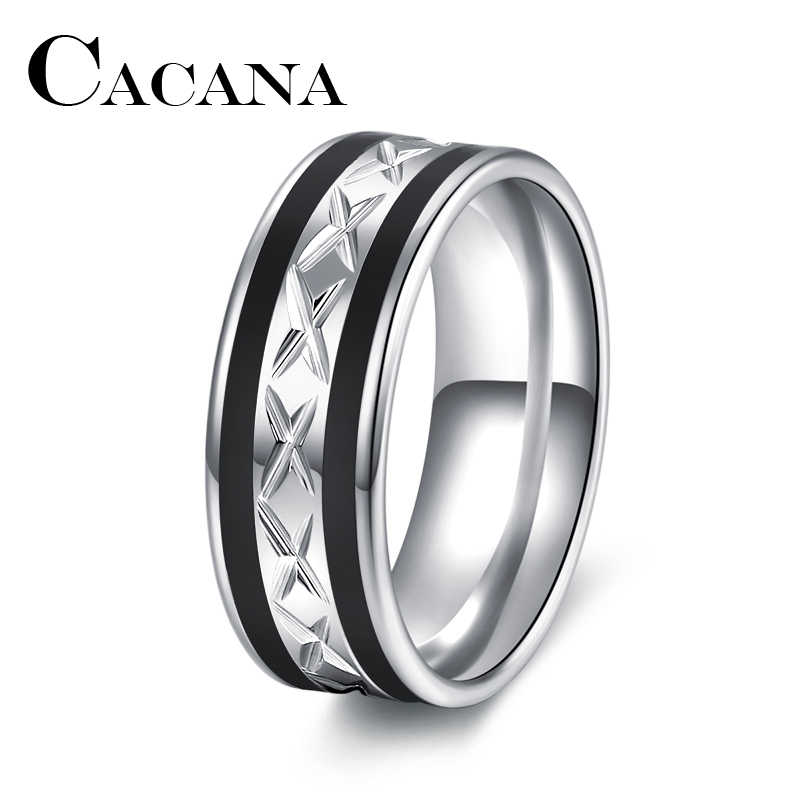 CACANA  High Quality Black WITH Silver Stainless Steel Male Ring Personalized Custom Fashion Jewelry Accessories Unique Design