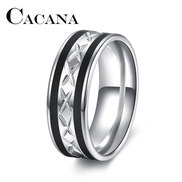 CACANA High Quality Black WITH Silver Stainless Steel Male Ring Fashion Jewelry