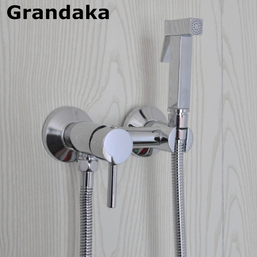 Brass Chrome Handheld Bidet Sprayer Shower Set Toilet Shattaf Sprayer Douche kit Bidet Faucet, Brass Mixer Hot &Cold Water Valve brass toliet hand held bidet spray douche sprayer shower set shattaf nozzle jet