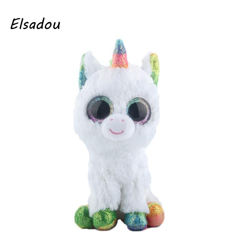 Elsadou Ty Beanie Boos Stuffed & Plush Animals Colorful White Unicorn Doll Toys For Children ty collection beanie boos kids plush toys big eyes slick brown fox lovely children gifts kawaii stuffed animals dolls cute toys