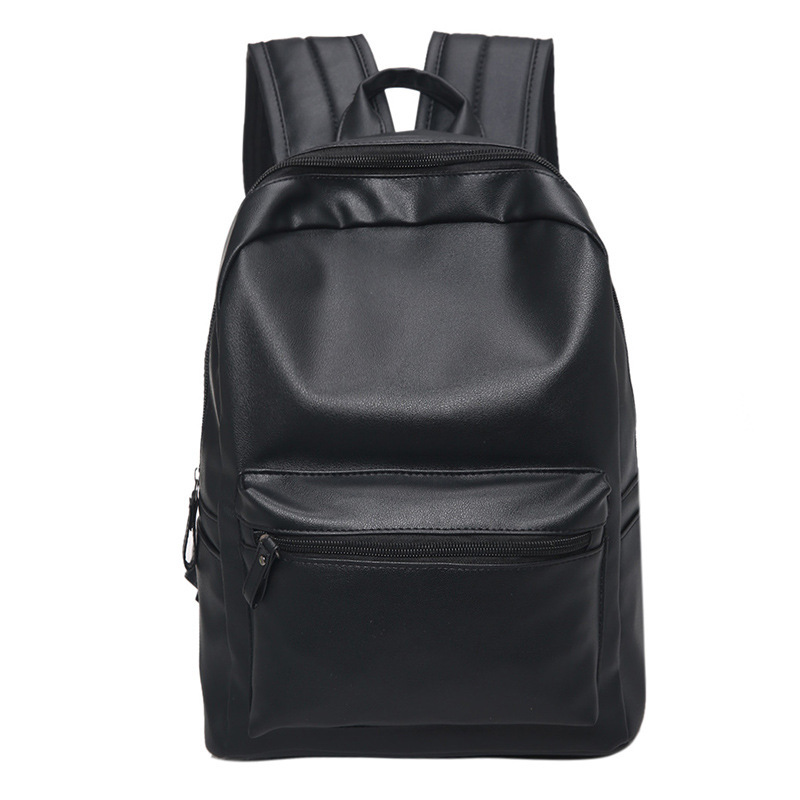2018 Famous Brand Fashion Preppy Style Women Men School Backpack For Teenage Solid Black Leather Backpack Travel Backpack Bag