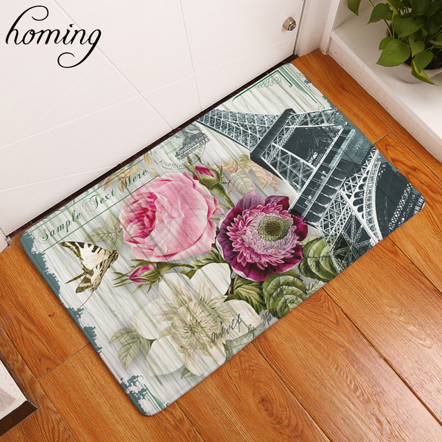 Homing Durable Welcome Home Decoration Stair Mats Vintage Stamp Eiffel  Tower Floral Mats Waterproof Bedroom Bedside
