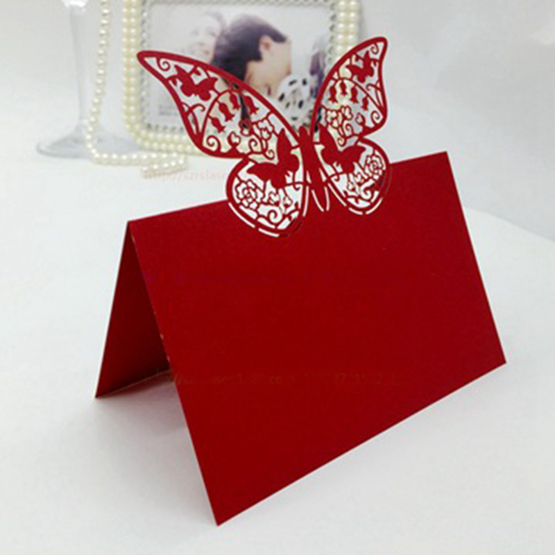 100Pcs Red Butterfly Wedding Card Place Cards Birthday Party Table Centerpieces Decoration Craft Festive Events Supplies korean gostop godori hwatu cards table game red black multicolored