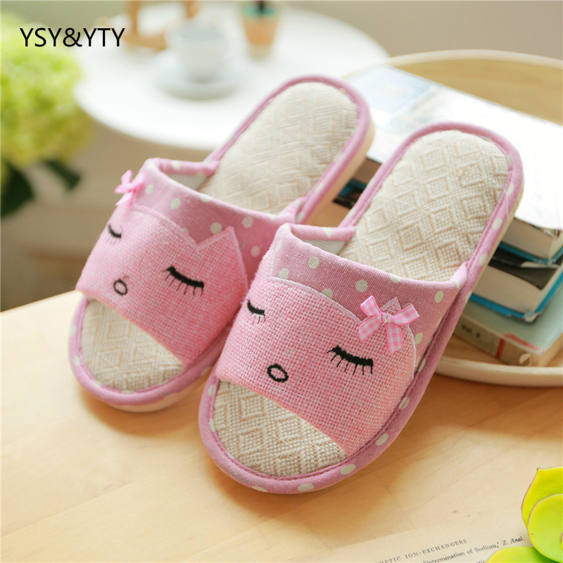 2019 new Summer linen slippers ladies living home anti-skid cotton thick cute cartoon indoor summer floor cooler slippers