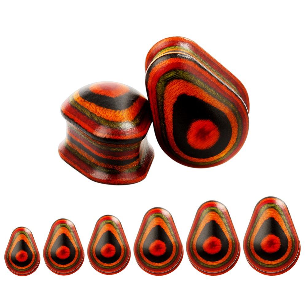 Цветные деревянные ушные расширители в форме капли воды туннели