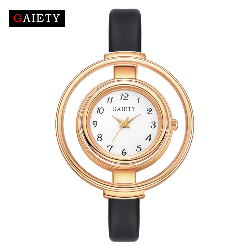 Gaiety Brand Women Lady Gril Student White Black Round Dress Watch Wristwatch Womens Casual Leather Quartz Gifts Watches G467