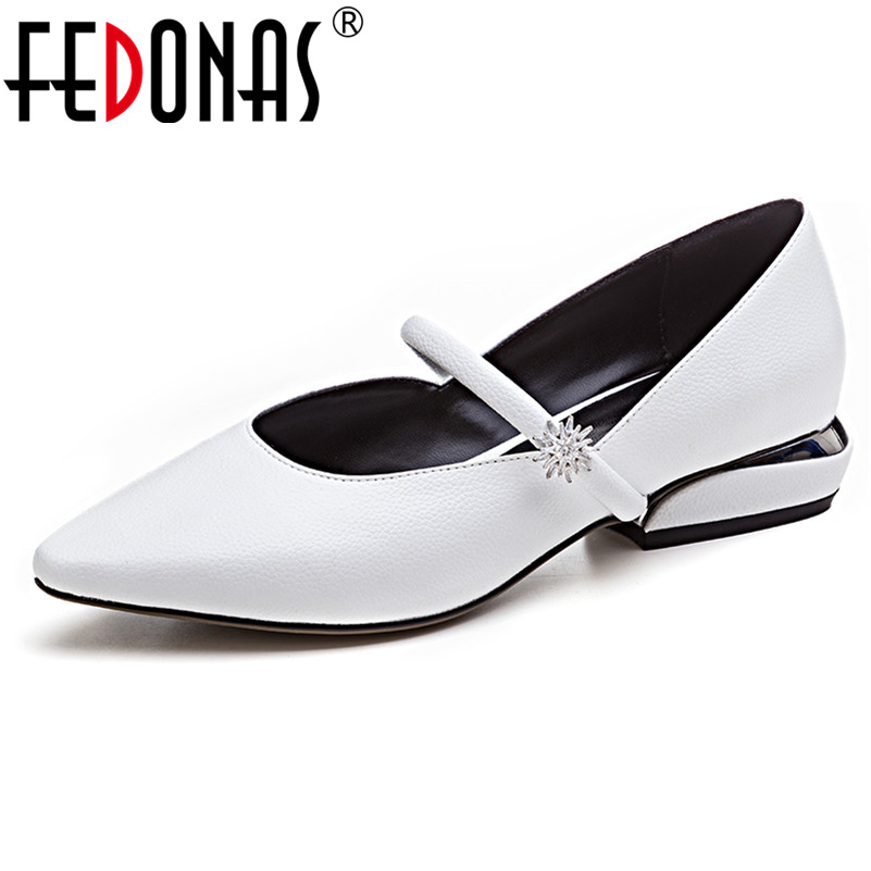 FEDONAS Fashion Brand Spring Autumn Women Genuine Leather Pumps Buckles Cute Style Low Heel Wedding Shoes