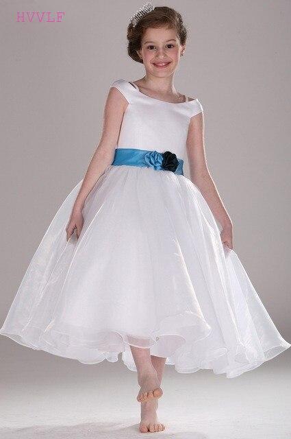 White 2019   Flower     Girl     Dresses   For Weddings A-line Cap Sleeves Ankle Length Sash Long First Communion   Dresses   For Little   Girls