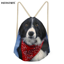 INSTANTARTS 2018 New Backpack Border Collie Drawstring Bag Women Men Casual Mini School Bagpack 3D Cute Dog Print Female Daypack