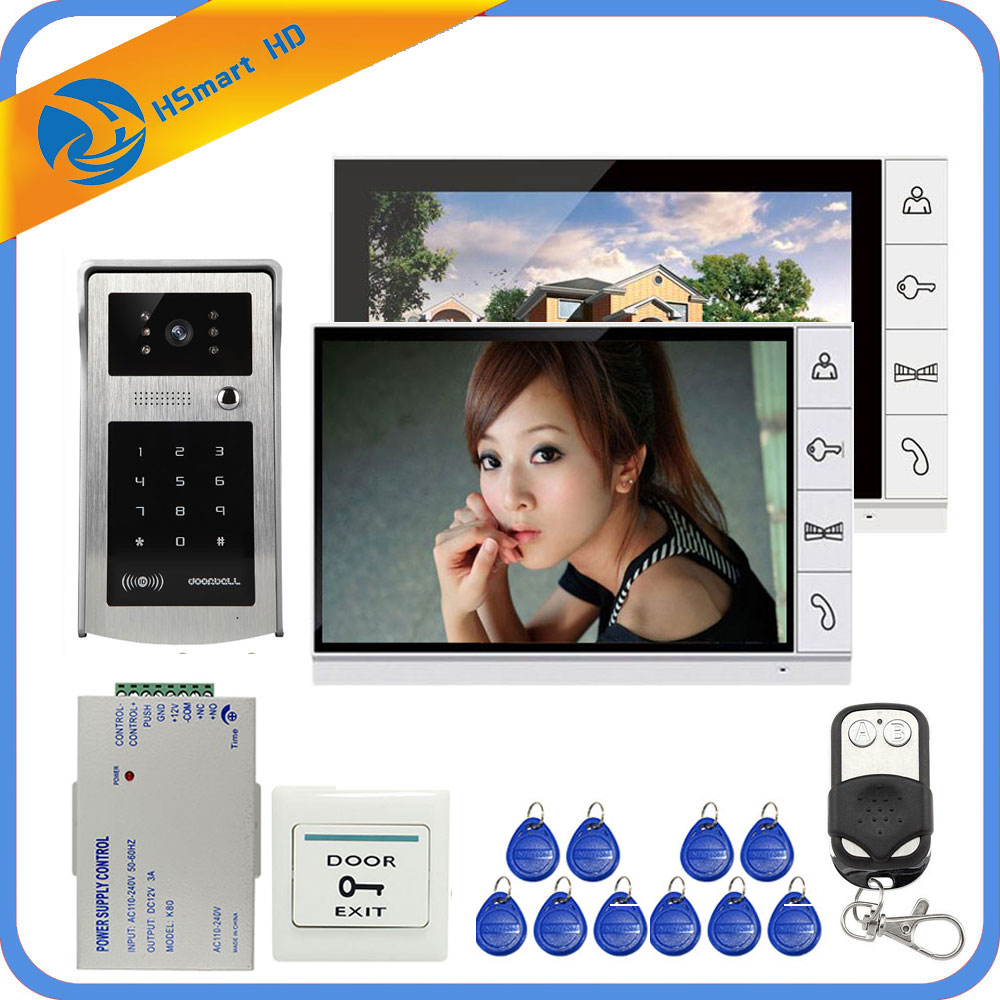 Home Security 9 inch TFT LCD 2 Monitor Video Door phone Video Intercom System RFID Password Access Doorbell 1 Camera+Door Exit 7 inch password id card video door phone home access control system wired video intercome door bell