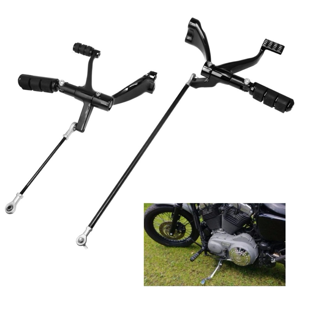 Set Black Peg Lever Linkages Mounting Hardware Forward Controls Kit Compatible with Harley Sportster 2004-2013 XL883 XL1200 Selected Model