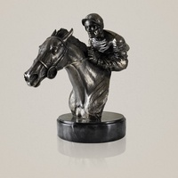 Abstract Horseman Bust Sculpture Handmade Resin and Copper Jockey Statue Horse Racing Sports Decoration Souvenir Craft Ornament