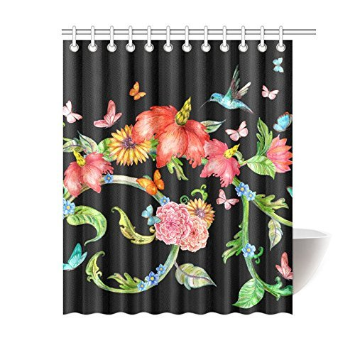 NANAZ Custom Flowers With Butterflies And Flying Hummingbird Bathroom Waterproof Fabric Shower Curtain