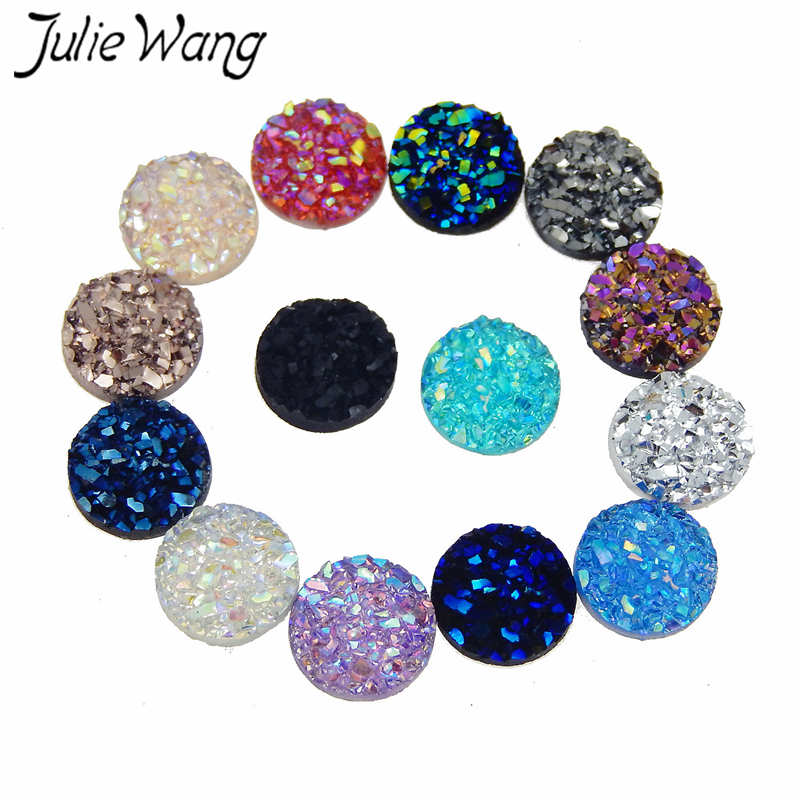 Julie Wang 100pcs 8mm Flatback Resin Druzy Round Cabochons Cameo For Charms Pendant Bracelet Jewelry Making Accessory Findings
