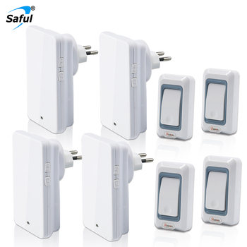 Saful  EU/US/UK/AU Plug 28 Ring Bell Wireless Doorbell Button 4 Out Transmitters + 4 Doorbells Receiver Combination Doorbell