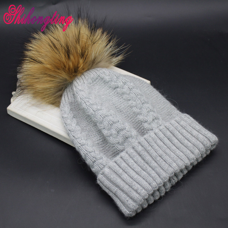 2016 New Arrival Wool Knitted Hats Winter Raccoon Fur Pompom Big Striped Hat Small Fresh All-match Ball Cap Wholesale ZZM007 knitted skullies cap the new winter all match thickened wool hat knitted cap children cap mz081
