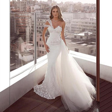 White One Shoulder Mermaid Wedding Formal Dresses With Detachable Train Lace Handmade Flowers robe de mariage 2019 Bridal Gowns