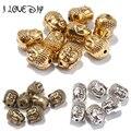 20 pçs/lote Encantos para Fazer Jóias de Metal Sliver Ouro Tibetano Buda Cabeça de Prata Spacer Beads 10x8mm