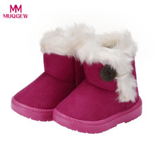Winter Fashion child girls snow Boots Solid Wool Warm Baby Girls Child Shoes for Girl Casual Boots lush soft bottom baby girls (China)