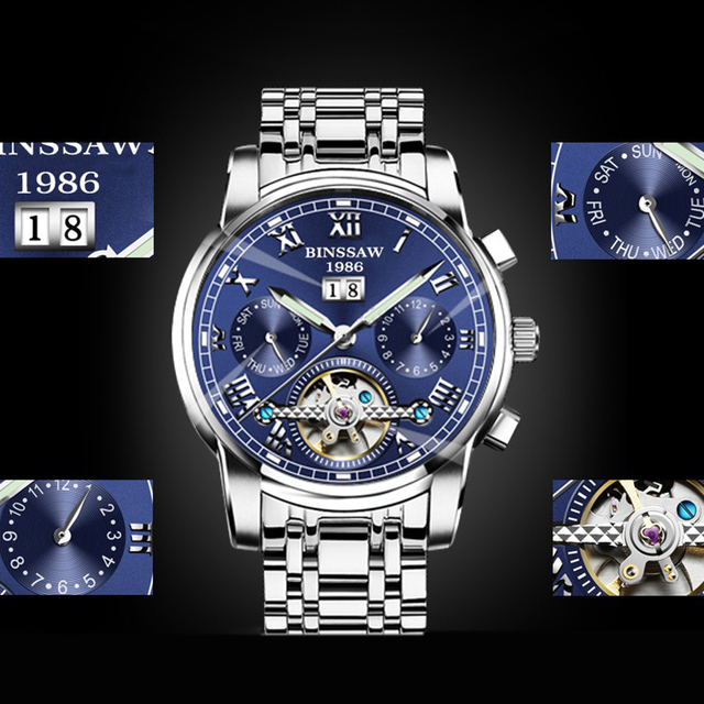 Tourbillon Top Brand Luxury Stainless Steel Watch