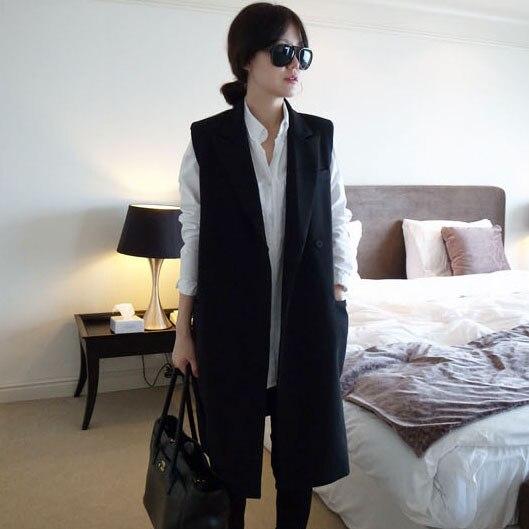 Novo 2016 moda primavera e no outono colete das mulheres do vintage longo solto terno colete plus size colete moda feminina colete trincheira casaco