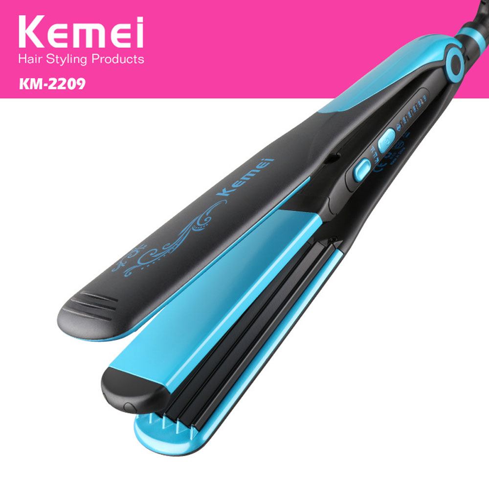 Kemei KM-2209 Hair Straightener Portable Straight Volume Dual-use Hair Curler Hairdressing Tool Flat Iron