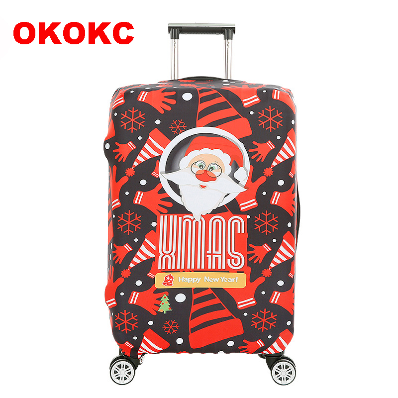 OKOKC Santa Claus Elastic Luggage Dust Cover Travel Accessories on Road Protective Thickest Suitcase Cover for 18-32inch