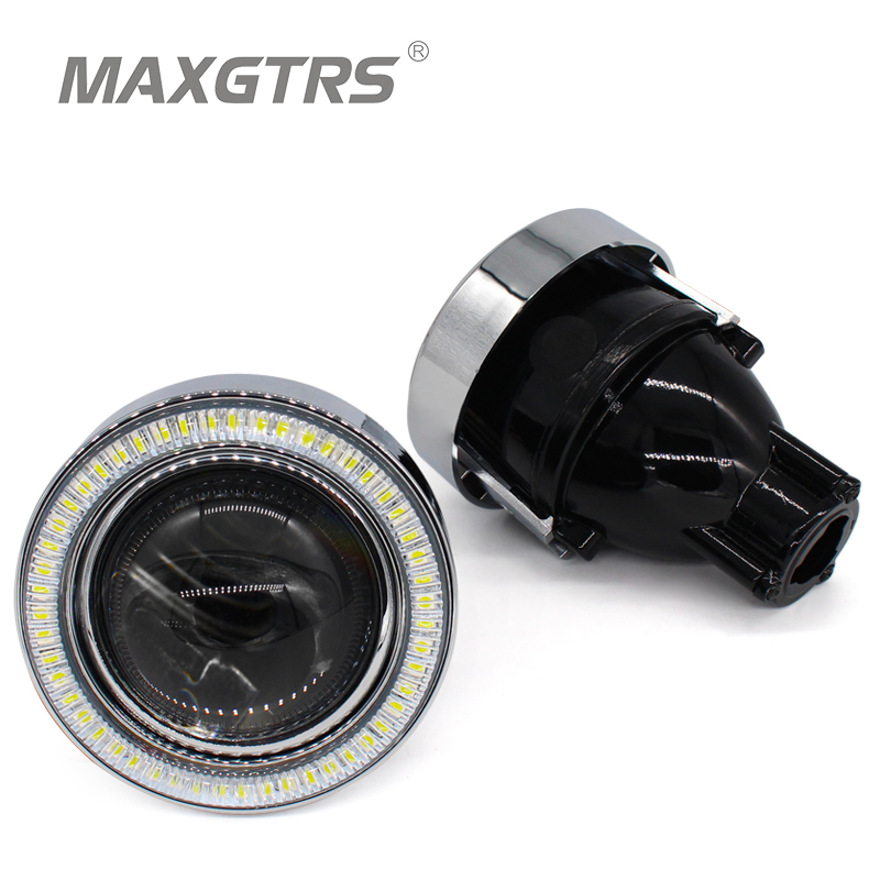 2x Universal H11 HID Bi xenon Car Fog Lights Bulb Projector Lens Driving Lamps LED Angel