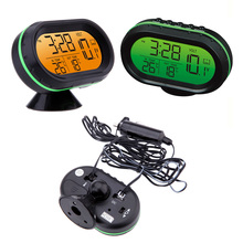 Цифровой Авто термометр Вольтметр Напряжение метр фосфоресцирующий часы заморозить предупреждение батареи автомобиля Mutifunction инструмент