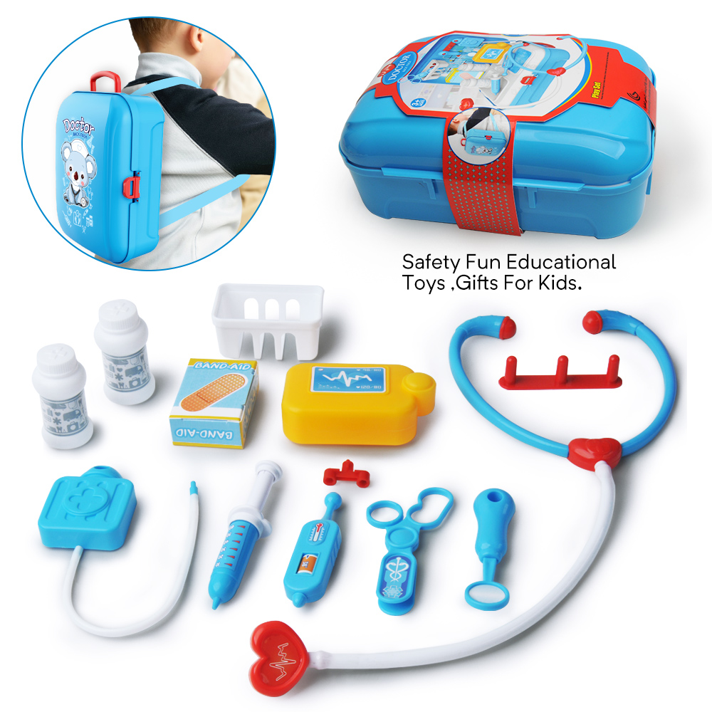 Children Pretend Play Doctor Toys Portable Backpack Medical Box Kids Learning Educational Playsets For Baby Role Play Nurse Toy