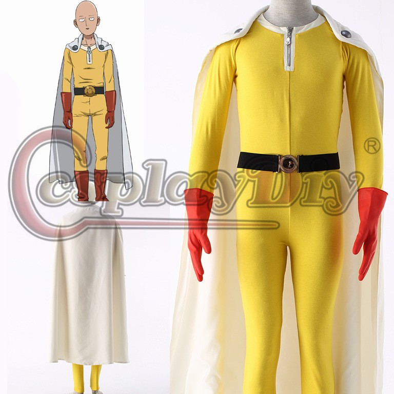 Cosplaydiy One Punch homme Saitama Caped Baldy Hagemanto Cosplay Costume adulte hommes Halloween Cosplay tenue