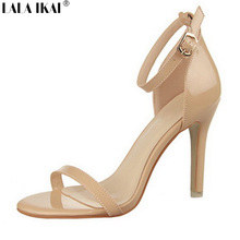 LALA IKAI 2017 Concise Nude Suede High Heels Sandals Women T Ankle Strap Summer Dress Shoes Woman Open Toe Sandals