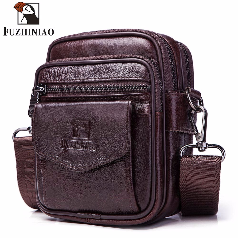 FUZHINIAO Small Genuine Cowhide Leather Men'ss