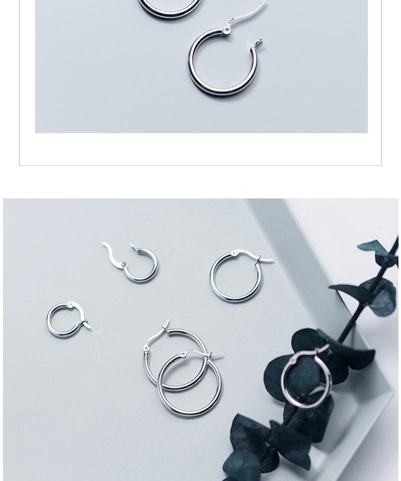 Round Hoop Earrings For Women Classic 925 Sterling Silver Ear Piercing Clip On Earring For Female Fashion Pendientes Aro Plata (10)
