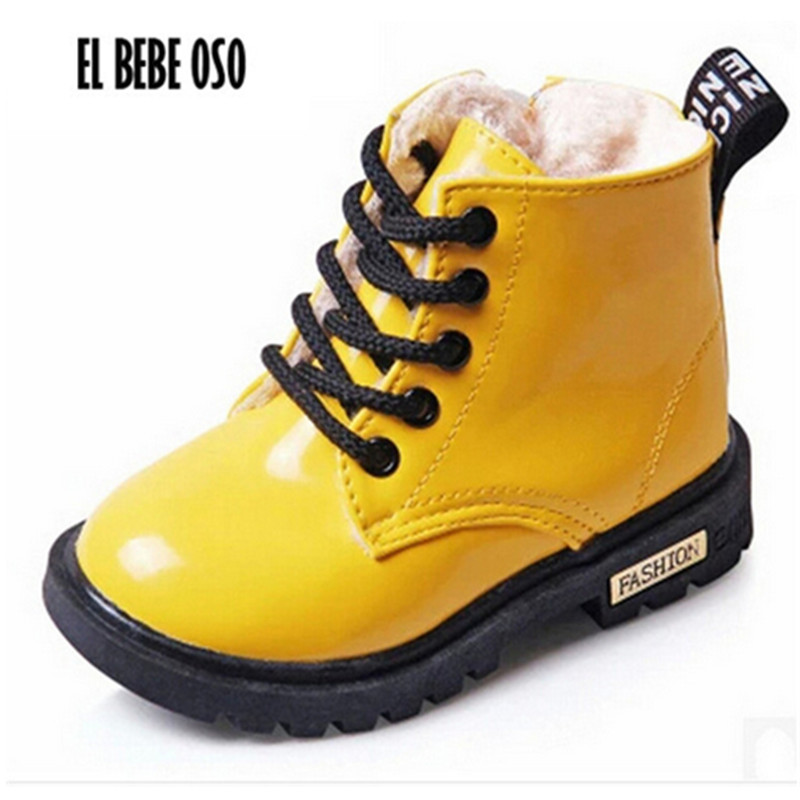 EL BEBE OSO Winter Warme Kinder Schuhe PU Leder Wasserdichte Martin Stiefel Kinder Jungen Schnee Booties Mädchen Mode Turnschuhe