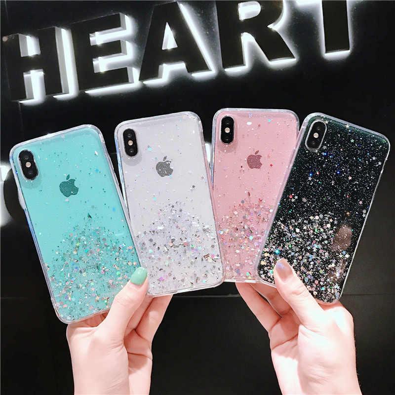 Lovebay purpurina transparente teléfono carcasa para iPhone 6 6s 7 8 Plus X XS XR XS Max Bling estrellas lentejuelas suave TPU funda trasera de silicona
