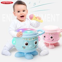 Baby Musical Instrument Toys Hand Drum & Microphone Pink/Blue Children Projector Lights Sounds Stories Educational Toys for Kids
