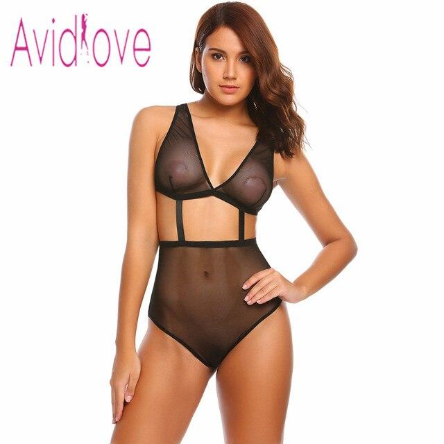 Avidlove Una Pieza Sexy Lingerie Hot Erotic Mujeres Halter Backless Peluches Cuerpo Traje De Noche Femenino