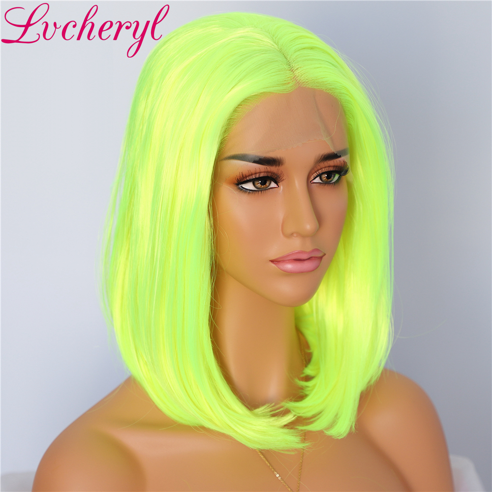 Lvcheryl Trendy New Neon Yellow Hair Short Hair Party Wigs Full Density Glueless Synthetic Lace Front