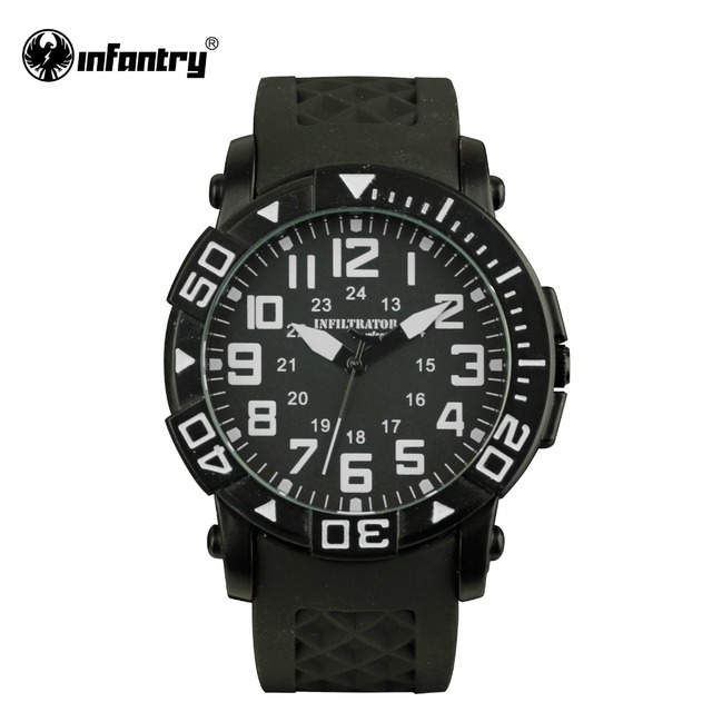 INFANTRY Mens Quartz-watch Original Brand 24Hrs Military Watches Black Silicone Male Clock Sport Watches 2017 Relogio Masculino