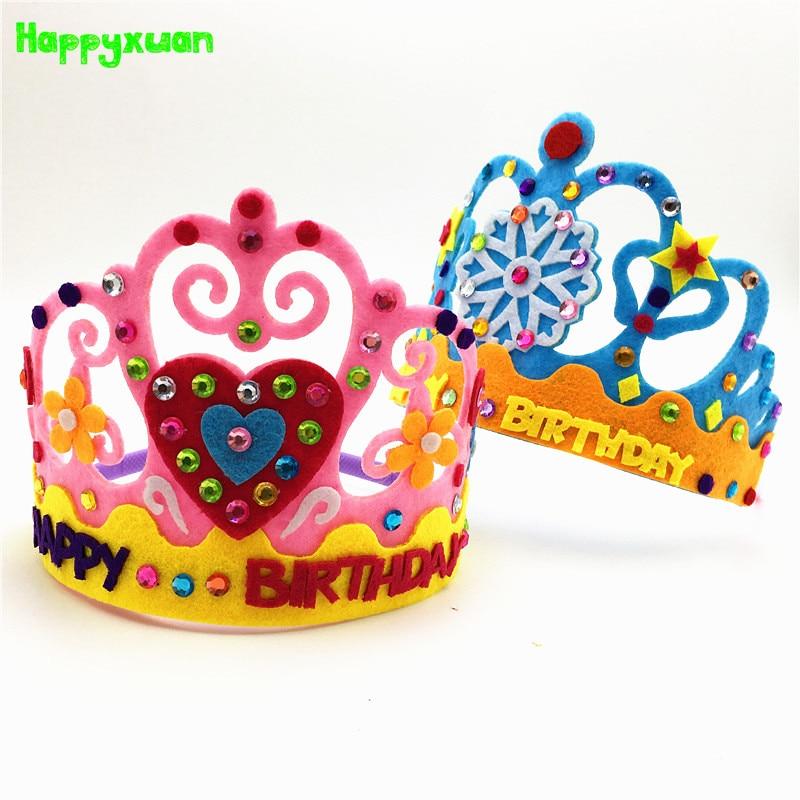 Happyxuan 6pcs Making DIY Handmade Felt Toys Kids Happy Birthday Crown Hand Craft Kits Hat Party Supplies For Girl Kindergarten