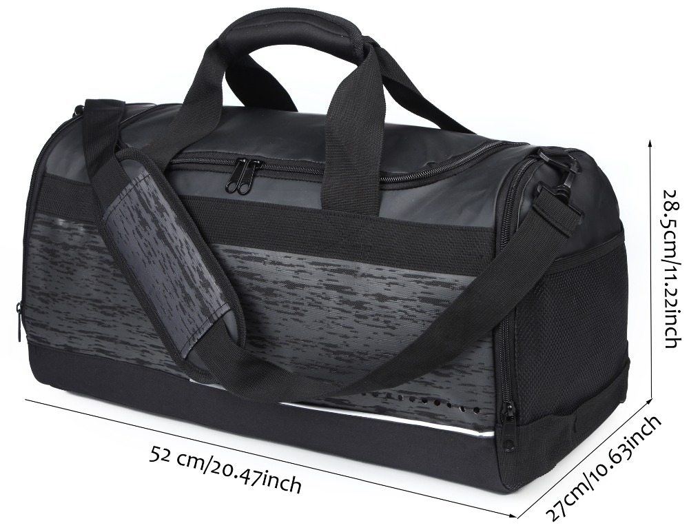 MIER 20 Inch Black Travel Bag with Shoe Compartment Medium Mens Duffel Bag