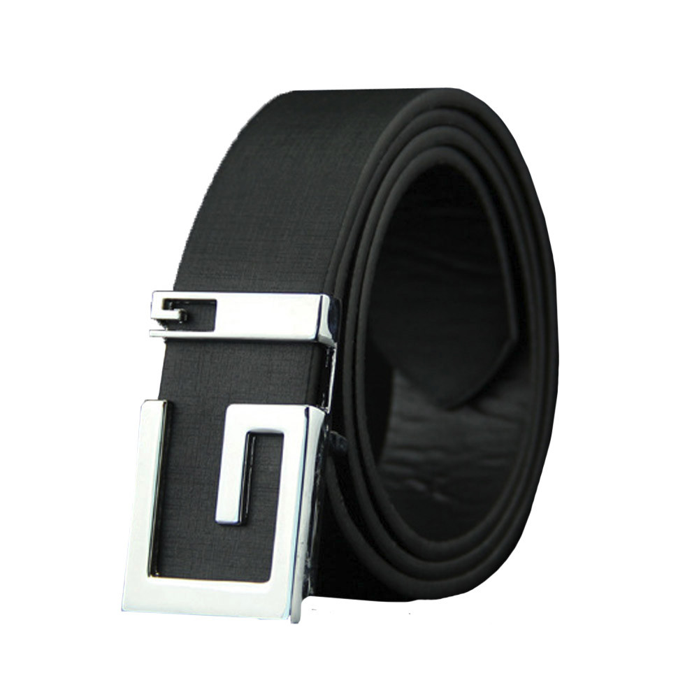 Fashion Mens Genuine Leather Blet Black Automic Ratchet Buckle Waistband Straps