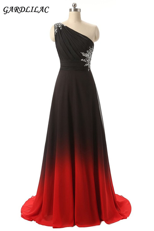 Gardlilac New Long Prom   Dress   One-Shoulder Gradient Black&Red long   Bridesmaid     Dress   Chiffon Crystals Wedding Party   Dress