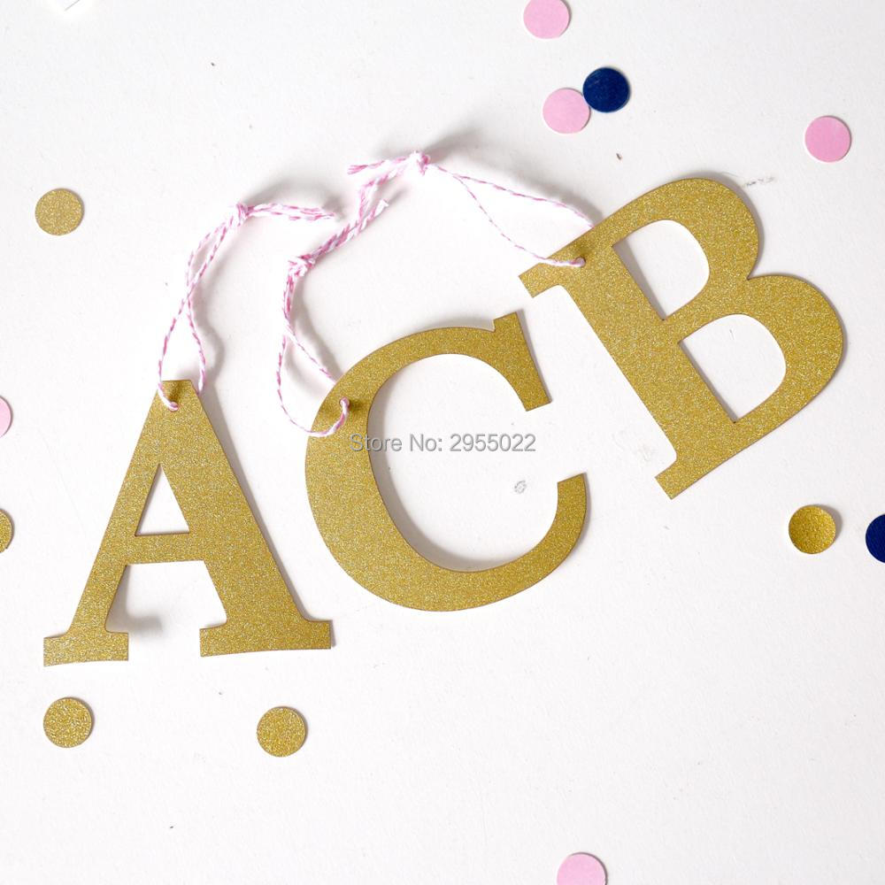 Custom monogram glitter gift tags, initials gold gift tags, alphabet ...