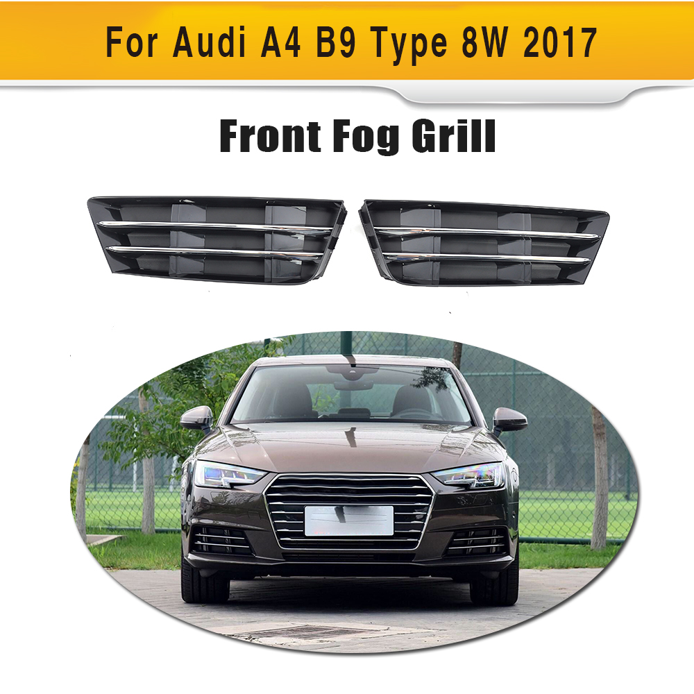 ABS Fog Light Grill Protective Mesh Covers Lower Racing Grills for Audi A4 B9 Type 8W standard only 2017 2PC Car Styling racing grills version aluminum alloy car styling refit grille air intake grid radiator grill for kla k5 2012 14