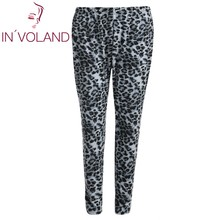 IN'VOLAND Women Print Pant Big Size High Waisted Leopard Stretch Casual Full Length Slim Skinny Legging Club Pants Plus Size 5XL