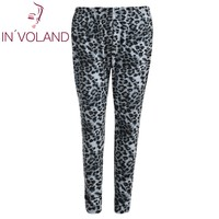 IN VOLAND Women Print Pant High Waisted Leopard Stretch Tights Casual Full Length Slim Skinny Legging