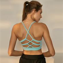 Women's yoga bra medium support workout top sports and fashion 2 in 1 cross lace up back hollow cut out sports bra underwear